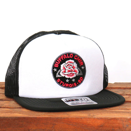 Official Sturgis BFA2029 Buffalo Chip Rose Snapback White and Black Hat - Hot Leathers Hats and Caps