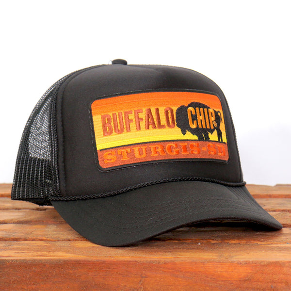 Official Sturgis BFA2030 Buffalo Chip Black Trucker Hat - Hot Leathers Hats and Caps