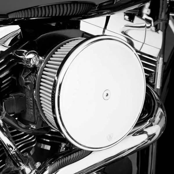 Arlen Ness Stage II Billet Sucker Air Filter Kit with Smooth Chrome Steel Cover for Harley Davidson 1988-2013 XL - N/A