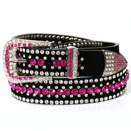Hot Leathers BLA1081 Ladies Pink Rhinestone Leather Belt - Hot Leather Women Belts