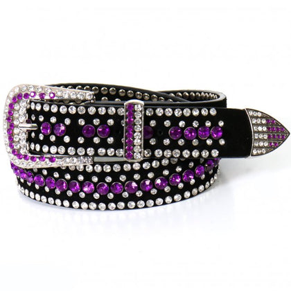 Hot Leathers BLA1082 Ladies Purple Rhinestone Leather Belt - Hot Leather Women Belts
