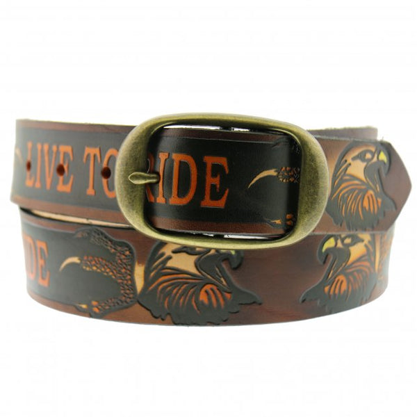 Hot Leathers BLE1005 Live To Ride Embossed Brown Leather Belt - Hot Leather Unisex Belts