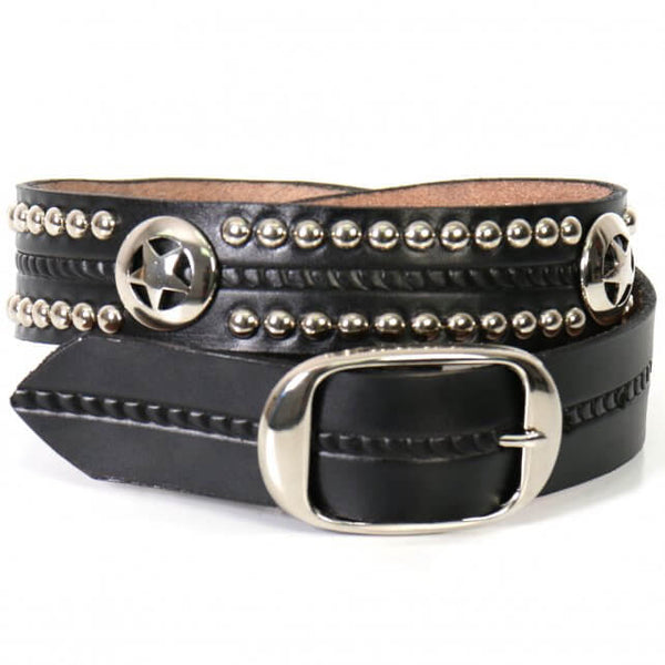 Hot Leathers BLE1010 Western Star and Studs Black Leather Belt - Hot Leather Unisex Belts