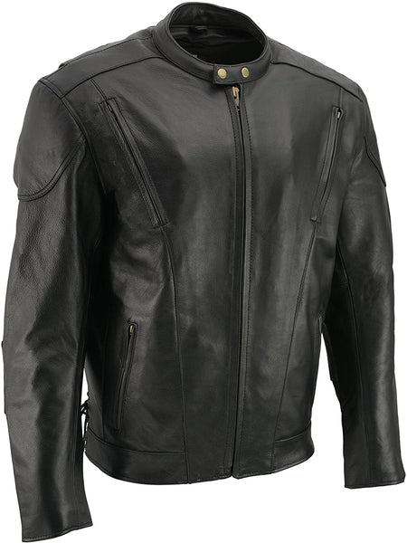 M-Boss Motorcycle Apparel BOS11510 Men's 'Speed' Black Cowhide Motorcycle Leather Jacket - M-Boss Mens Leather Jackets