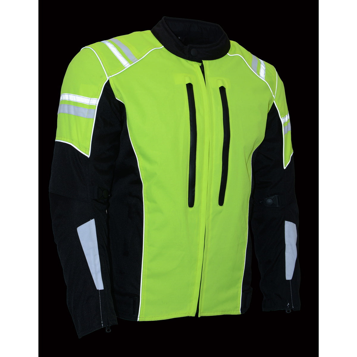 Black//Neon Green, X-Large Milwaukee Performance Mens Nylon//Mesh Combo Moto Jacket with Armor