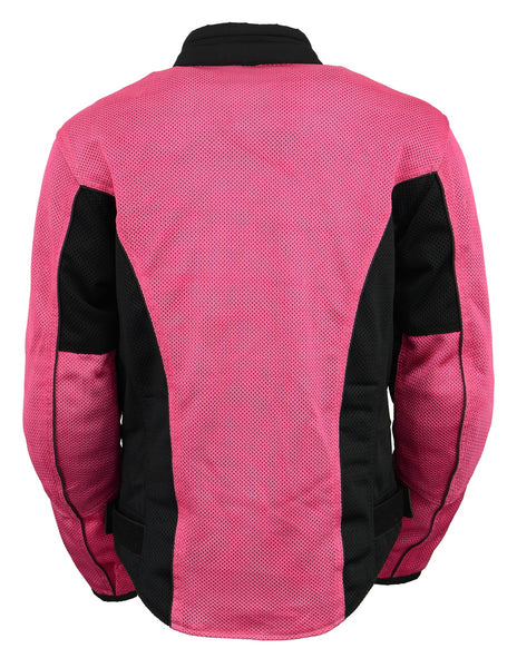 M Boss Motorcycle Apparel BOS22702 Ladies Black and Fuchsia Mesh Racer Jacket with Full Armor - M-Boss Womens Textile Jackets
