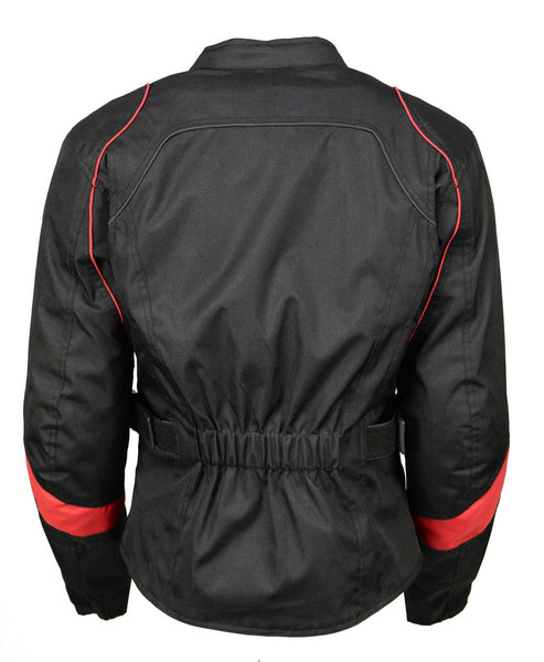 M Boss Motorcycle Apparel BOS22706 Ladies Black and Red Nylon Racer Jacket with Full Armor - M-Boss Womens Textile Jackets