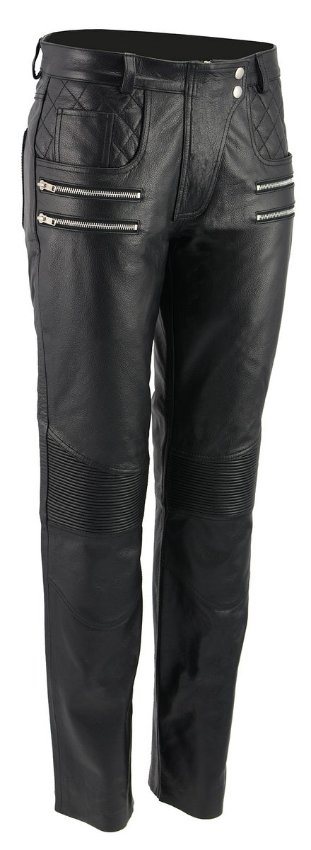 M-Boss Motorcycle Apparel-BOS26500-BLACK-Women Vixen Leather Motorcycle Pants w//Quilted Belt Detailing-BLACK-6