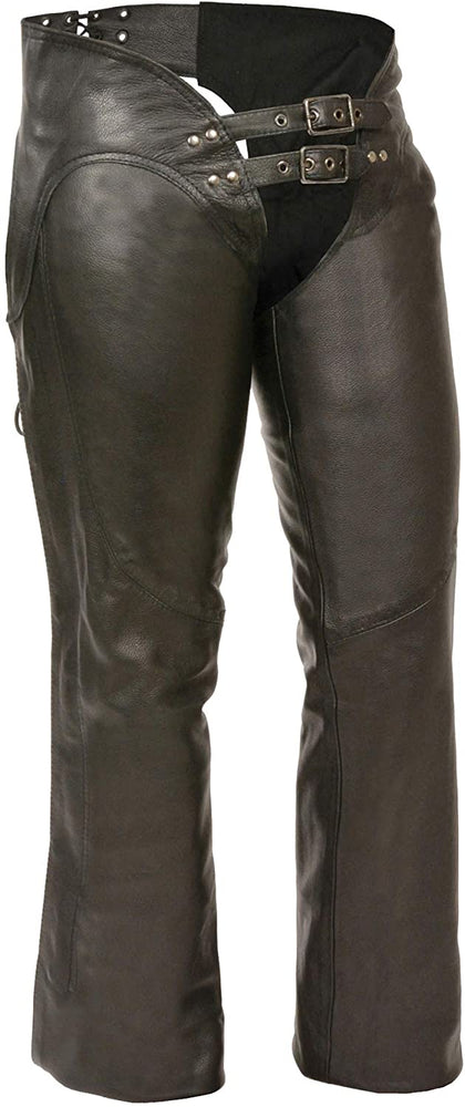 M Boss Motorcycle Apparel BOS26502 Women's Black Low-Rise Leather Chaps - M-BOSS Womens Leather Chaps