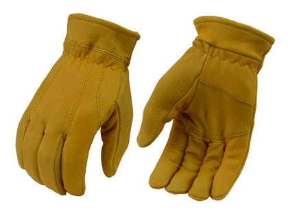 M Boss Motorcycle Apparel BOS37547 Mens Yellow Lined Full Grain Deerskin Gloves - M-Boss Mens Gloves
