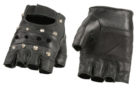 M-BOSS Motorcycle Apparel-BOS37531-BLACK-S-Mens Unlined Leather Gloves w//Zipper Closure-BLACK-S