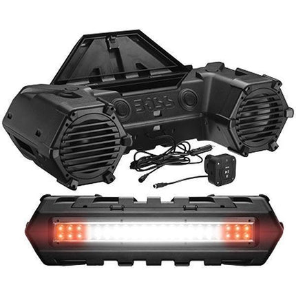 Boss Audio 8in Black ATV Bluetooth Speakers with Dual LED Light Bar
