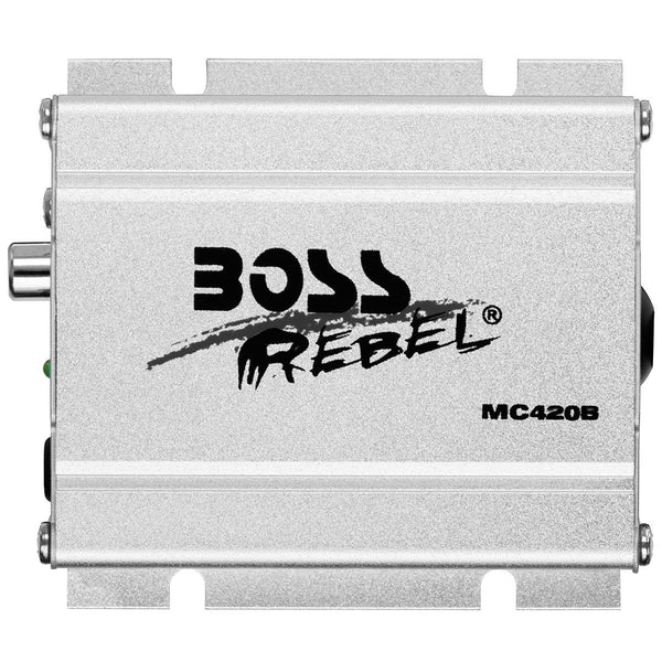Boss Audio MC420B Chrome 600 Watt Motorcycle/ATV Sound System with Bluetooth Audio Streaming - N/A