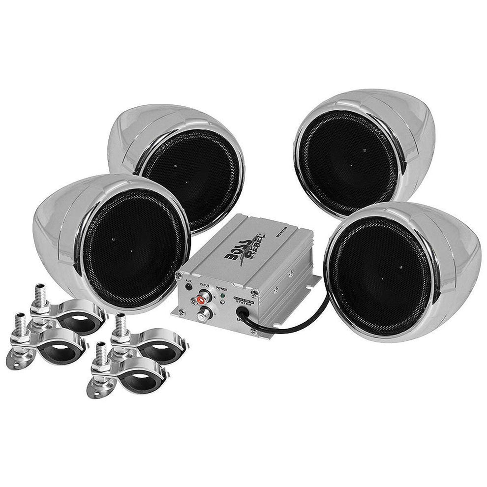 Boss Audio MC470B Chrome 1000 Watt Motorcycle/ATV Sound System with Bluetooth Audio Streaming
