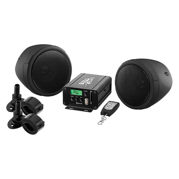 Boss Audio 3in Black 2-Channel Amplified Motorcycle/ATV 600W Weatherproof Speaker Kit - N/A