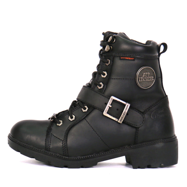 Hot Leathers BTL1004 Ladies 6-inch Black Lace-Up Leather Boots with Buckle Strap