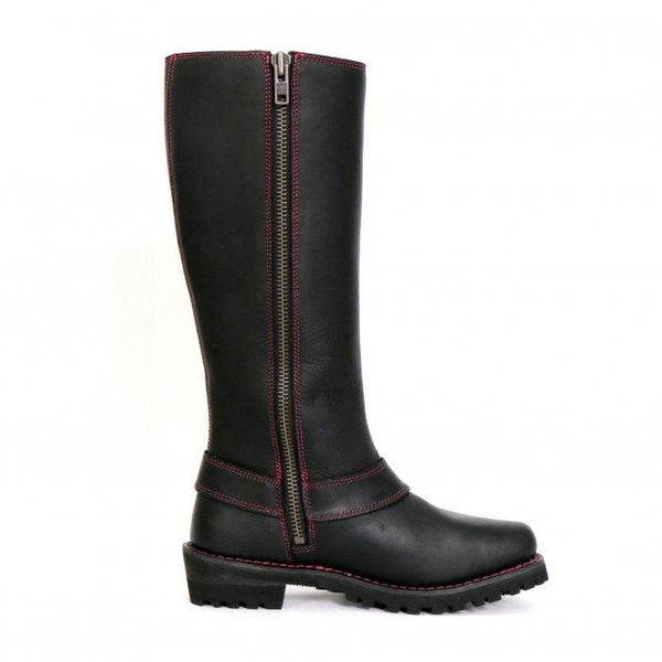 Hot Leathers BTL1006 Ladies 14-inch Black Knee-High Leather Boots with Side Zipper Entry