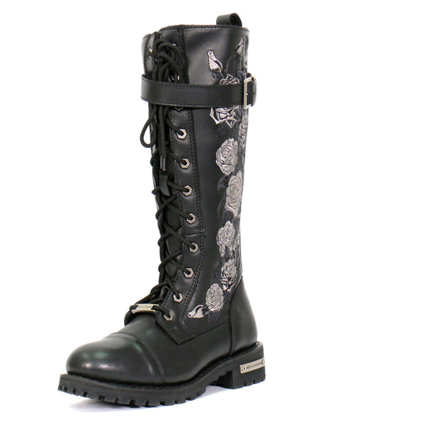 Hot Leathers BTL1007 Ladies Black Knee High Wild Roses Leather Boots