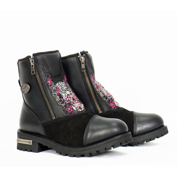 Hot Leathers BTL1009 Ladies Black Double Zip Sugar Skull Cap Toe Leather Boot - Hot Leathers Womens Leather Boots