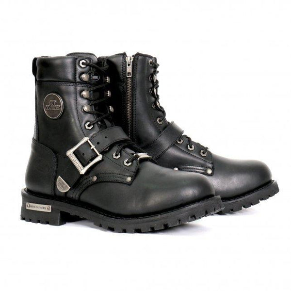 Hot Leathers BTM1006 Men's Black 8-inch Logger Leather Boots with Adjustable Buckle - Hot Leathers Mens Leather Boots