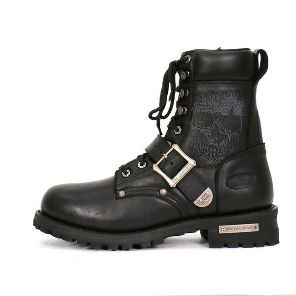 Hot Leathers BTM1017 Men's Black Grave Rub Skull Tall Logger Motorcycle Boot