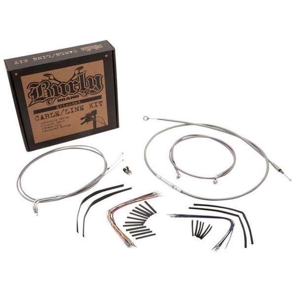 Burly Brand Cable/Brake Line Kit for Ape Hangers with Cruise Control for Harley Davidson 2002-06 Road King/Glide models - Burly Brand Brake Lines