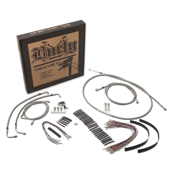 Burly Brand Cable/Brake Line Kit for Ape Hangers for Harley Davidson 2007-10 FXST/B/D models - N/A