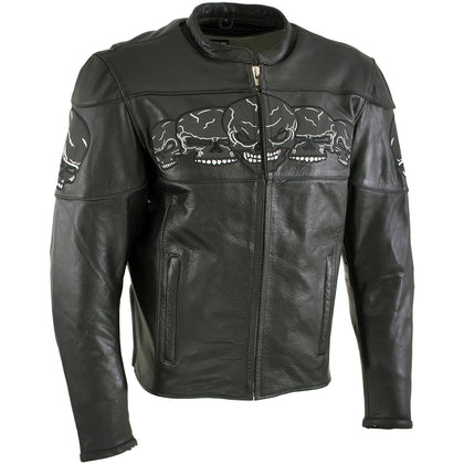 Xelement BXU6050 '3 Skull Head' Men's Black Leather Motorcycle Jacket with X-Armor Protection - Xelement Mens Leather Jackets