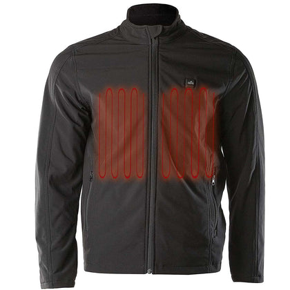 The Bikers Zone BZ2862 Heated Black Soft-Shell Jacket with 12V Battery