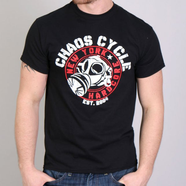 Official Chaos CCM1001 Men's Cycle Gas Mask Logo Black T-Shirt - Hot Leather Mens Short Sleeve Printed Shirts