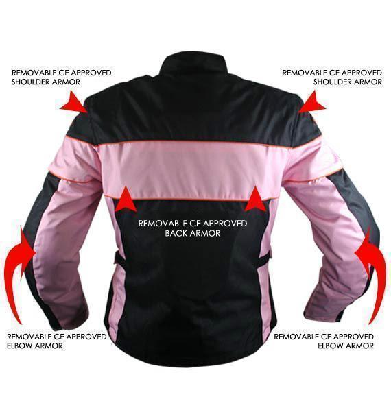 f20bed37a Xelement CF462 Women's Black/Pink Tri-Tex Fabric Motorcycle Jacket with  Advanced Level-3 Armor