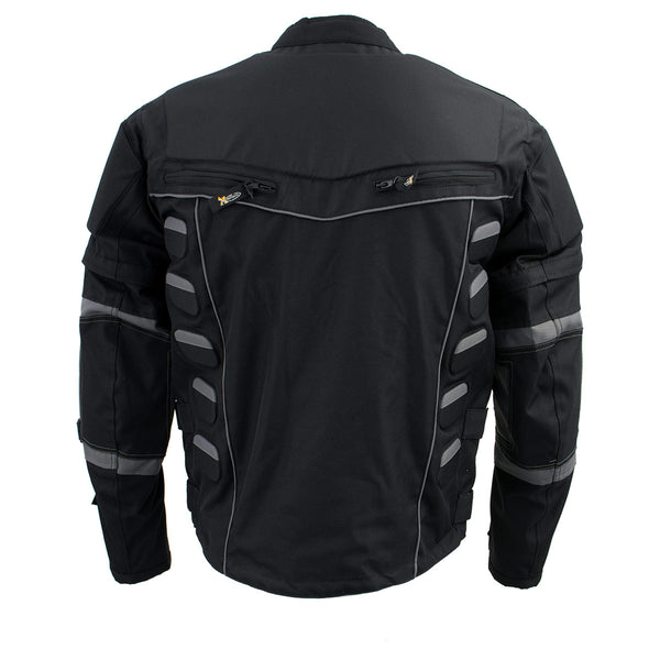 Xelement CF5050 Men's 'Morph' Black and Grey Tri-Tex Armored Jacket with Removable Sleeves - Xelement Mens Textile Jackets