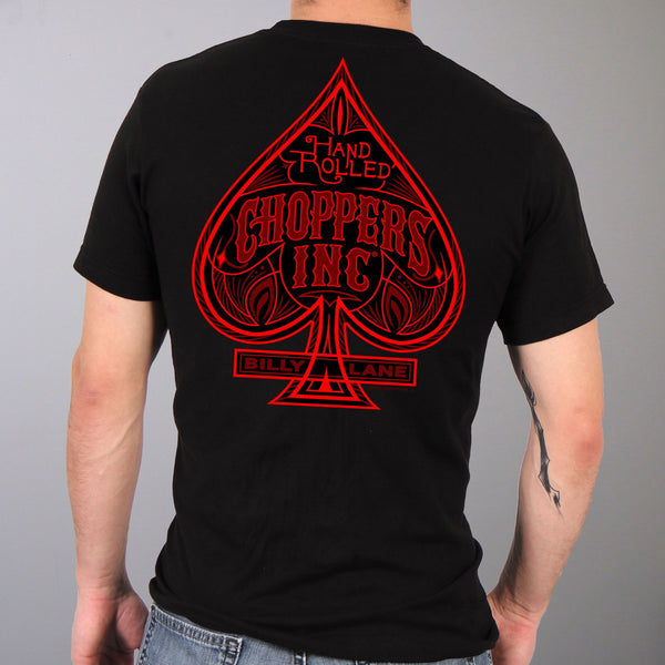 Official Billy Lane's Choppers Inc CIM1022 Men's Lane Spade Black T-Shirt - Hot Leather Mens Short Sleeve Printed Shirts