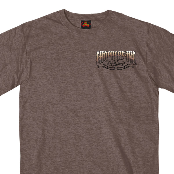 Official Billy Lane's Choppers Inc CIM1028 Men's Motor Two Sided Heather Brown T-Shirt - Hot Leather Mens Short Sleeve Printed Shirts