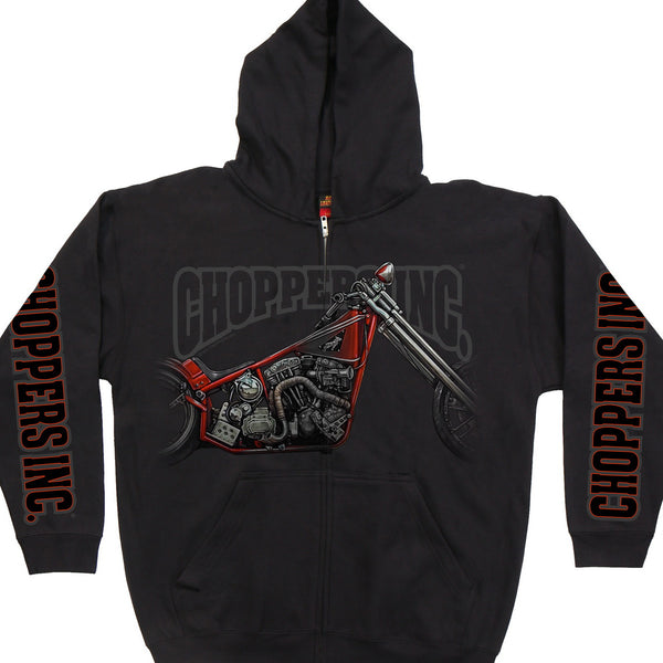 Official Billy Lane's Choppers Inc CIM4032 Men's Hubless Chopper Hooded Black Sweatshirt - Hot Leather Mens Printed Hoodies