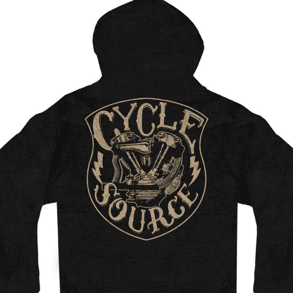 Official Cycle Source Magazine CSM4011 Men's Knucklehead Black Hoodie Sweatshirt - Hot Leather Mens Long Sleeve Printed Shirts
