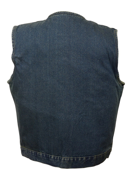 Milwaukee Performance DM1937 Men's Blue Snap Front Denim Club Vest with Gun Pocket - Milwaukee Performance Mens Denim Vests