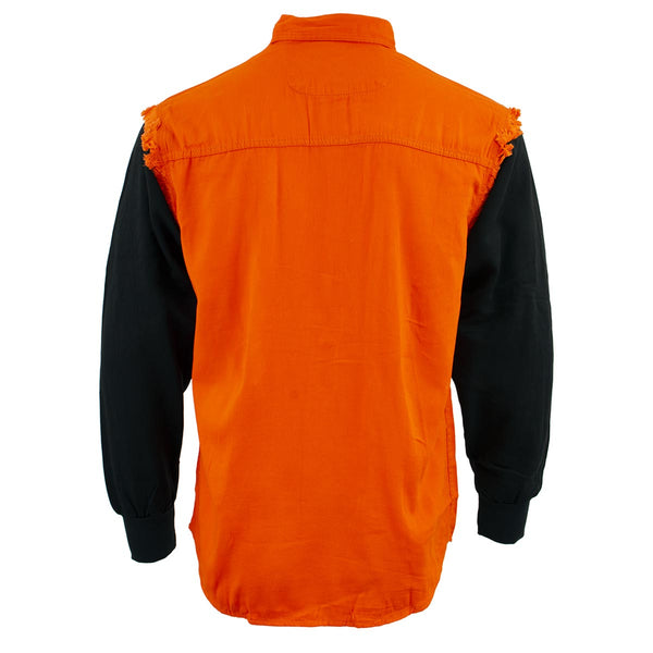 NexGen DM3333 Men's Orange and Black Long Sleeve Button Shirt