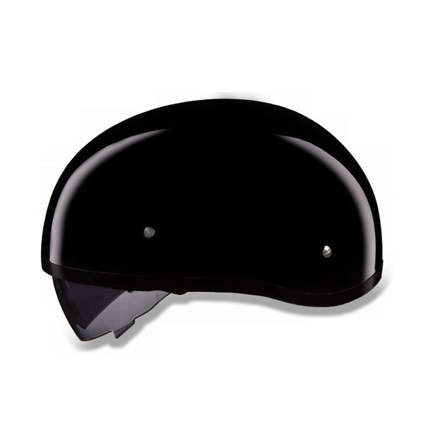 Daytona Helmets DS8-A 'Skull Cap' Gloss Black Half Face Helmet with Inner Shield - Daytona Half Face Helmets