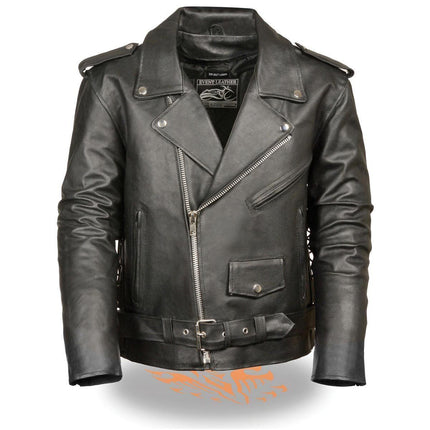 Event Leather Men's Classic Side Lace Leather Motorcycle Jacket