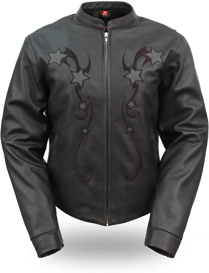 First Manufacturing FIL180CSZ Women's Black Sporty Scooter Leather Jacket with Reflective Stars