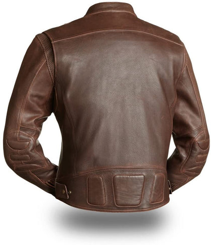 First Manufacturing FIM241CAZ Men's 'The Carbon' Brown Leather Jacket