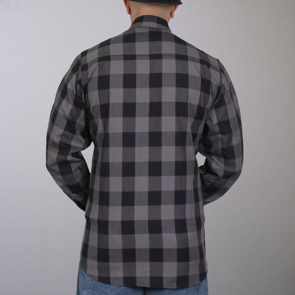 Hot Leathers FLM2001 Mens Black and Gray Long Sleeve Flannel Shirt - Hot Leathers Mens Flannel Shirts