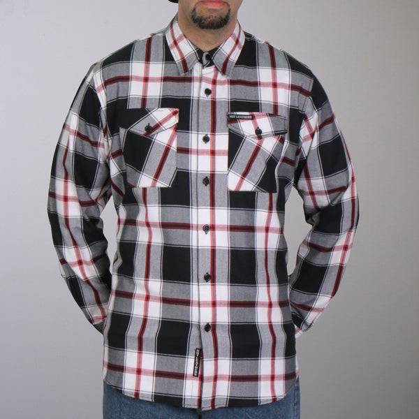 Hot Leathers FLM2003 Mens Black White and Red Long Sleeve Flannel Shirt - Hot Leathers Mens Flannel Shirts