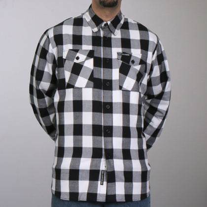 Hot Leathers FLM2004 Mens Black and White Long Sleeve Flannel Shirt - Hot Leathers Mens Flannel Shirts