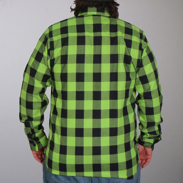 Hot Leathers FLM2005 Mens Black and Green Long Sleeve Flannel Shirt - Hot Leathers Mens Flannel Shirts