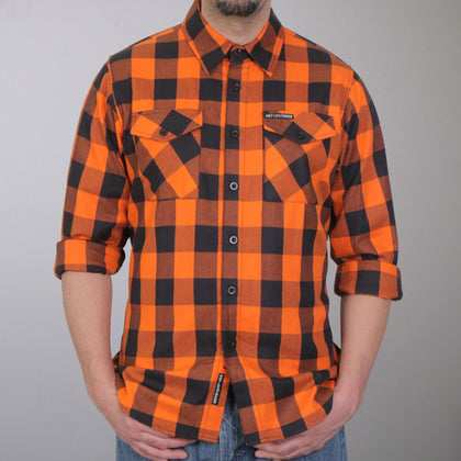 Hot Leathers FLM2007 Mens Orange and Black Long Sleeve Flannel Shirt - Hot Leathers Mens Flannel Shirts
