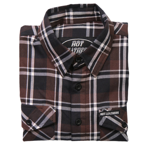 Hot Leathers FLM2008 Mens Brown Black and White Long Sleeve Flannel Shirt - Hot Leathers Mens Flannel Shirts