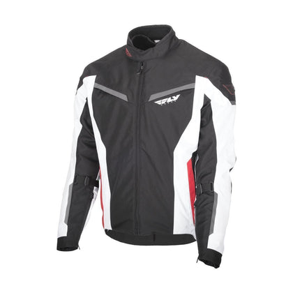 Fly Racing Strata Men's Black/White/Red Mesh/Textile Jacket with Armor - N/A