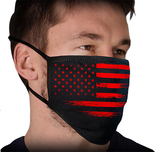 Milwaukee FMD1017 'Black and Red US Flag' 100 % Cotton Protective Face Mask with Optional Filter Pocket - Milwaukee Face Masks